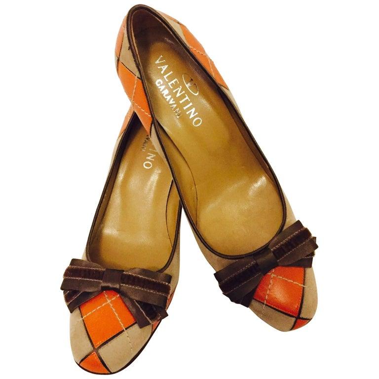 Valentino Garavani Orange Leather and Beige Suede Argyle Pumps
