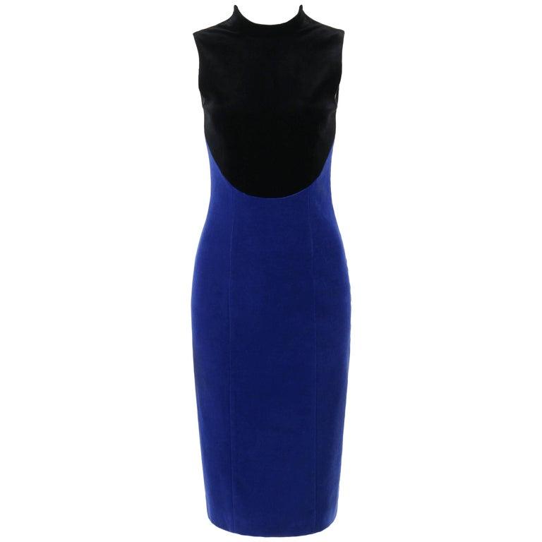 CHRISTOPHER KANE Pre-Fall 2013 Black & Royal Blue Two-tone Velvet Cocktail Dress