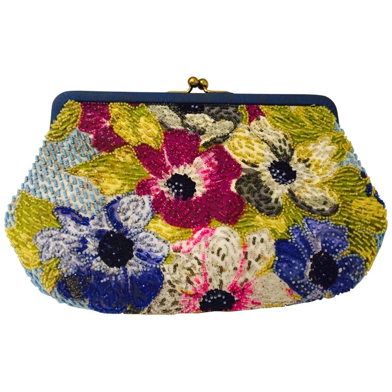 Vintage Pirovano Floral Embroidered Frame Clutch With Satin Lining and Kiss Lock