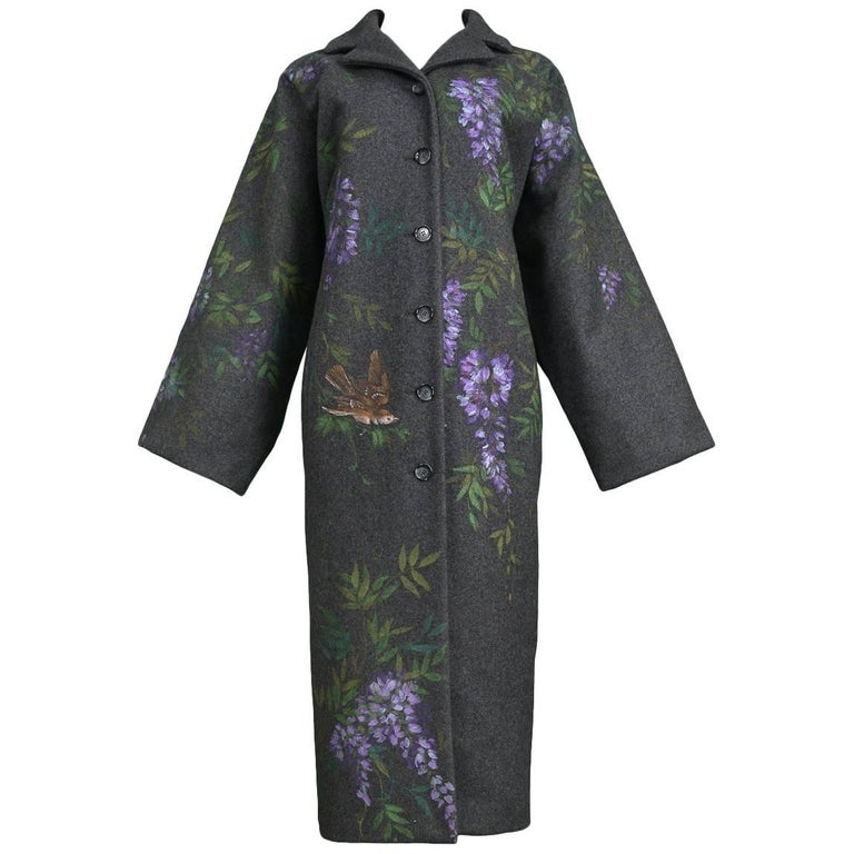 Vintage Dolce & Gabbana Hand-painted Flowers + Birds Wool Kimono Coat 1998
