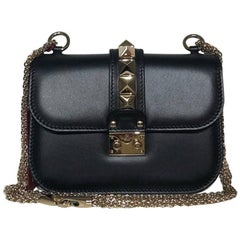 Valentino Glam Lock Leather Shoulder Bag Black