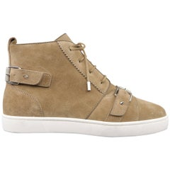 Men's CHRISTIAN LOUBOUTIN 11 Taupe Suede Buckle Strap NONO High Top Sneakers