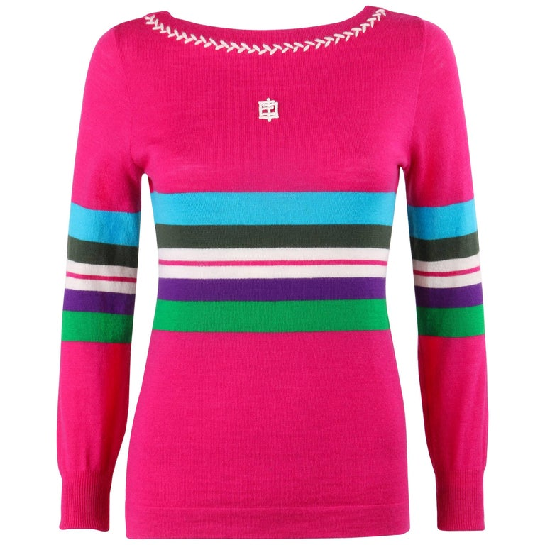 EMILIO PUCCI c.1970's Fuchsia Pink Wool Striped Knit Sweater Crewneck Top For Sale