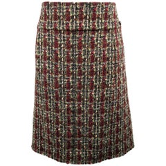 CHANEL Skirt - Size 14 - Burgundy & Green Wool Blend Boucle Tweed A Line Skirt