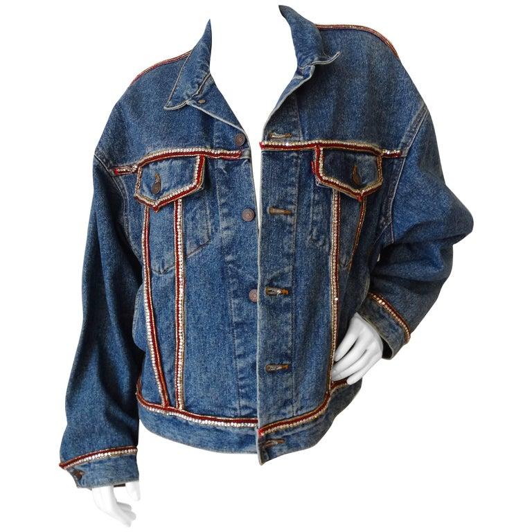 Levis Mary McFadden Couture Rhinestone Denim Jacket
