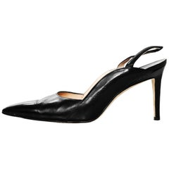 Manolo Blahnik Black & Brown Leather Slingback Pumps Sz 37.5 with DB