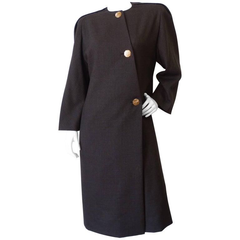 1980s Galanos Asymmetric Grey Coat Dress