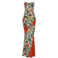 Dior by John Galliano Floral & Red Panel Biased Cut Evening Gown