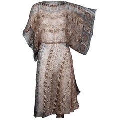 Metallic Paper Thin Vintage Indian Print Silk Dress with Batwing Sleeves, 1970s