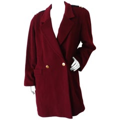 1980s Christian Dior Double Breasted Burgundy Blazer Coat