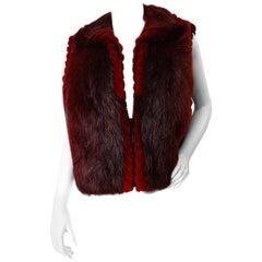 1990s David Green Red Beaver Fur Zip Up Vest
