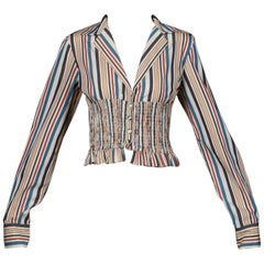 Romeo Gigli Vintage Striped Cotton Button Up Blouse, Shirt or Jacket