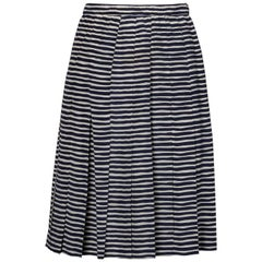 Adolfo Vintage Navy Blue + White Striped Silk Pleated Skirt