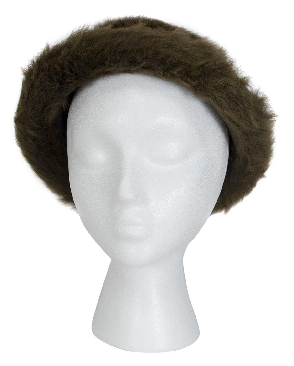 James Galanos Toscana Shearling Fur Bowler Hat, 1980s
