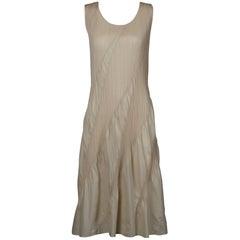 Issey Miyake Sculptural Pleats Please Vintage Pleated Avant Garde Midi Dress
