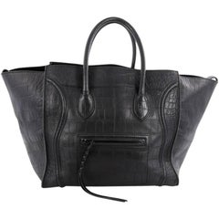 Celine Phantom Handbag Crocodile Embossed Leather Large