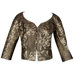1990s Christian Lacroix Vintage Metallic Gold Brocade Jacket