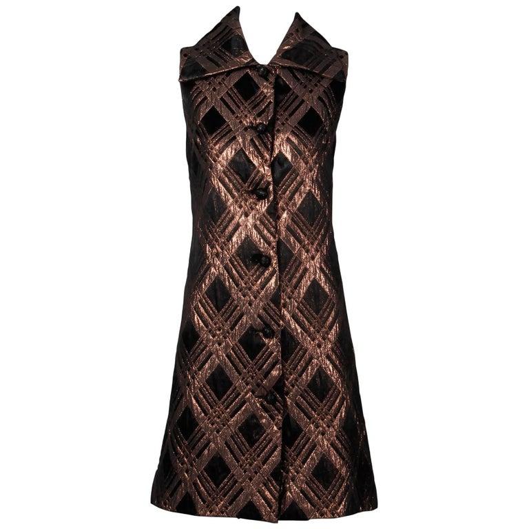 1960s Vintage Metallic Bronze + Black Brocade Button Up Shift Dress or Vest Coat