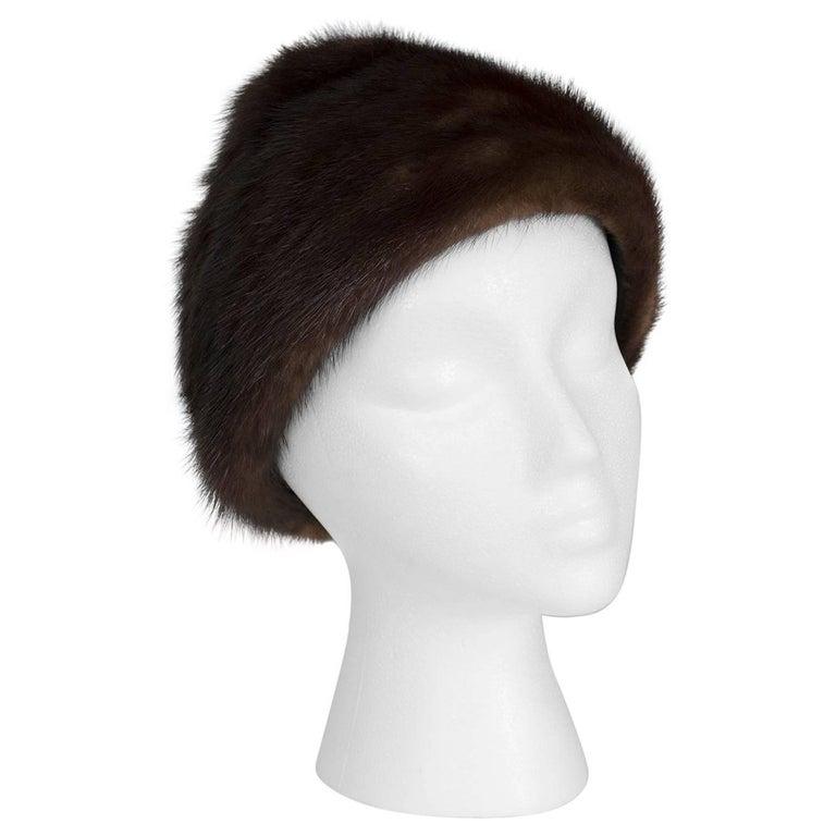 Brown-Black Mink Peak Turban Hat - I Magnin, 1960s For Sale
