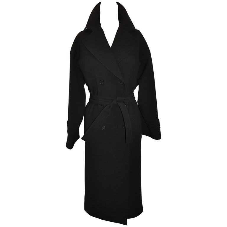 Dolce & Gabbana Signature Classic Black Wool Trench Coat with Tie-Belt