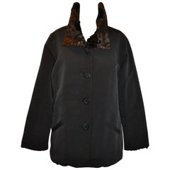 Reversible Black Silk and Cocoa Brown Faux Fur Button Evening Jacket