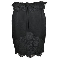 Moschino 'Couture' Black Silk with Swiss Lace Evening Pencil Skirt