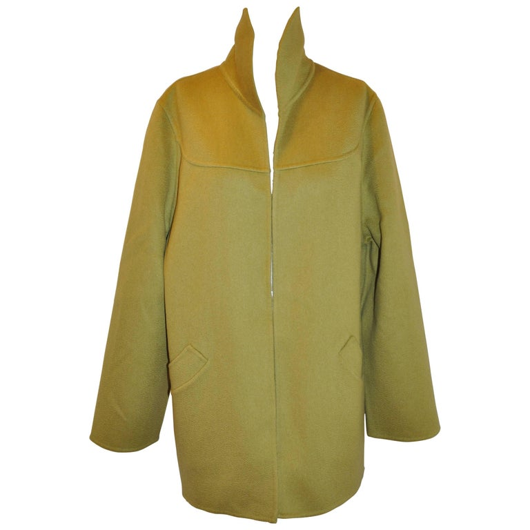 Bill Blass/Bergdorf Goodman Warm Olive Green Double-Faced Cashmere Open Car Coat