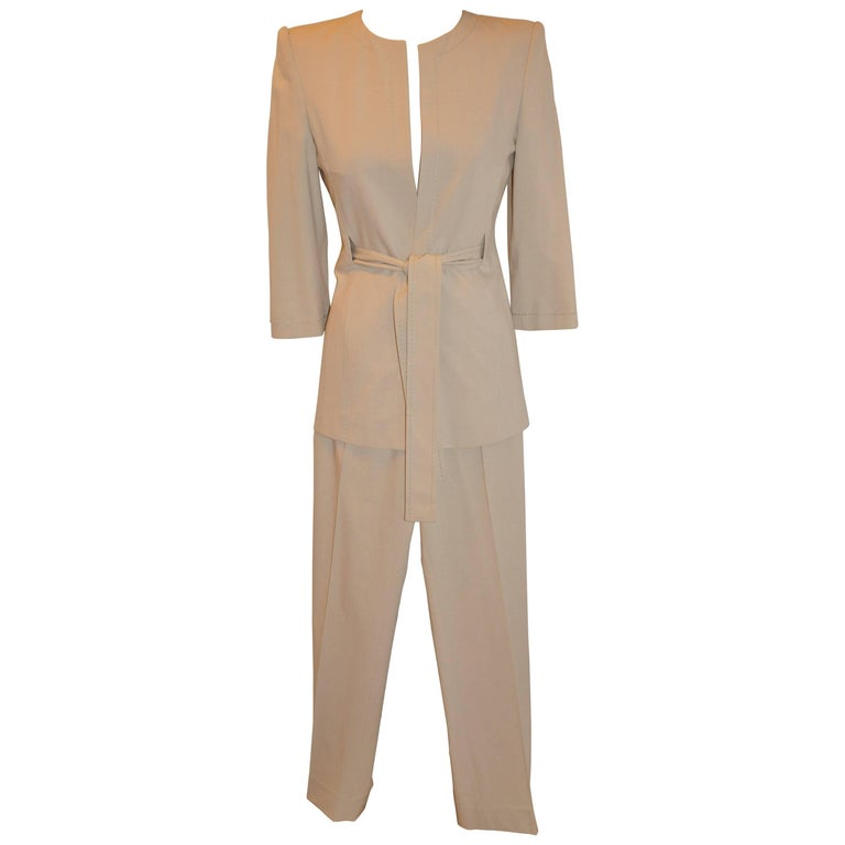 Gianfranco Ferre Silk Beige Tapered Pantsuit with Three-Quarter Sleeves