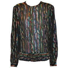 Lloyd Williams Elegant Black with Multi-Color Metallic Lame Evening Top