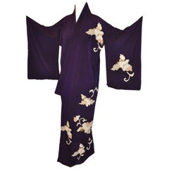 Japanese Deep Plum Accented with Geometric Floral Silk Kimono
