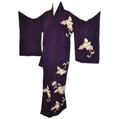 Japanese Deep Plum Accented with Geometric Floral Silk Kimono