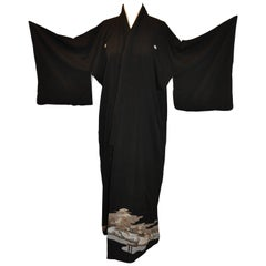 Black Silk Floral Trees and Waves Japanese Kimono