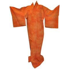 Warm Tangerine Multi-Micro Floral Silk Japanese Kimono