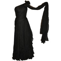Georgio Armani Multi-Layered Black Polka Dot Silk Chiffon & Train Cocktail Gown