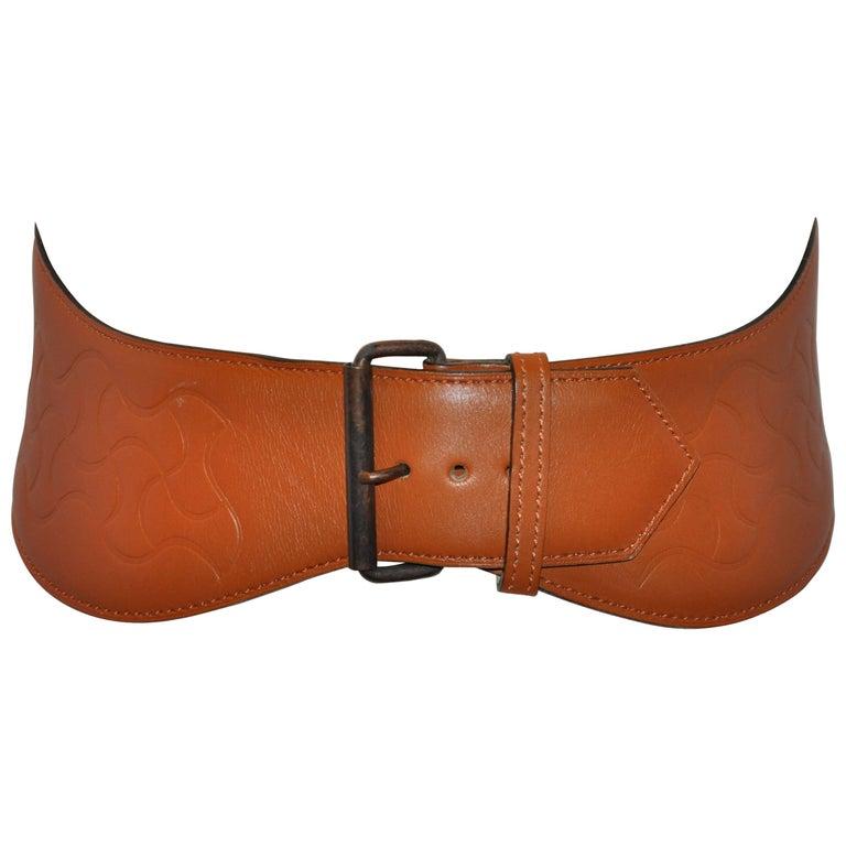 Alaia Curved Warm Brown Embossed Belt