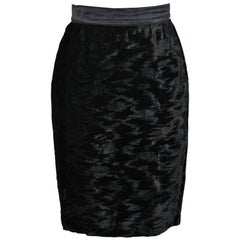 Escada Fully-Lined Black Crushed Velvet with Silk Satin Waistband Pencil Skirt
