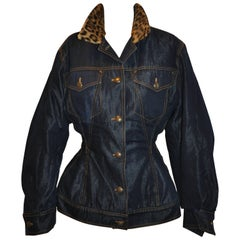 Rare Jean Paul Gaultier Sculpted Denim Jacket with Leopard Collar Button Jacket