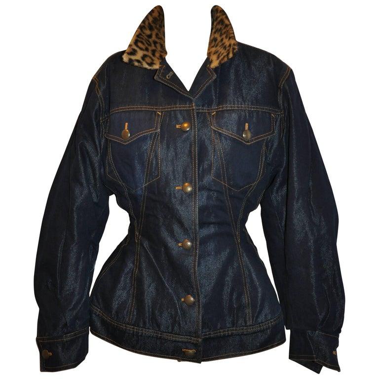 Rare Jean Paul Gaultier Sculpted Denim Jacket with Leopard Collar Button Jacket