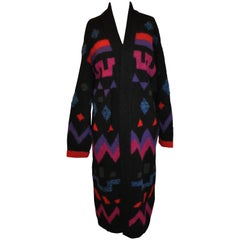 Bold Multi-Color Abstract Maxi Woven Cardigan Coat