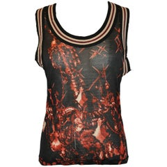 Jean Paul Gaultier Stretch Racer's Back with Stripe Accent Tank Top