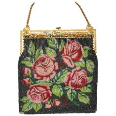 "Gilded Etched Gold Tone Hardware Frame Micro Beaded ""Roses"" Handbag"