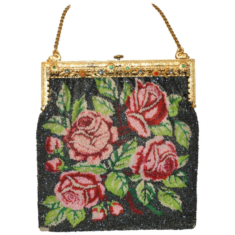 """Gilded Etched Gold Tone Hardware Frame Micro Beaded """"Roses"""" Handbag"""