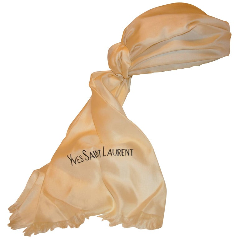 Rare Yves Saint Laurent Ivory Silk Turban with Train