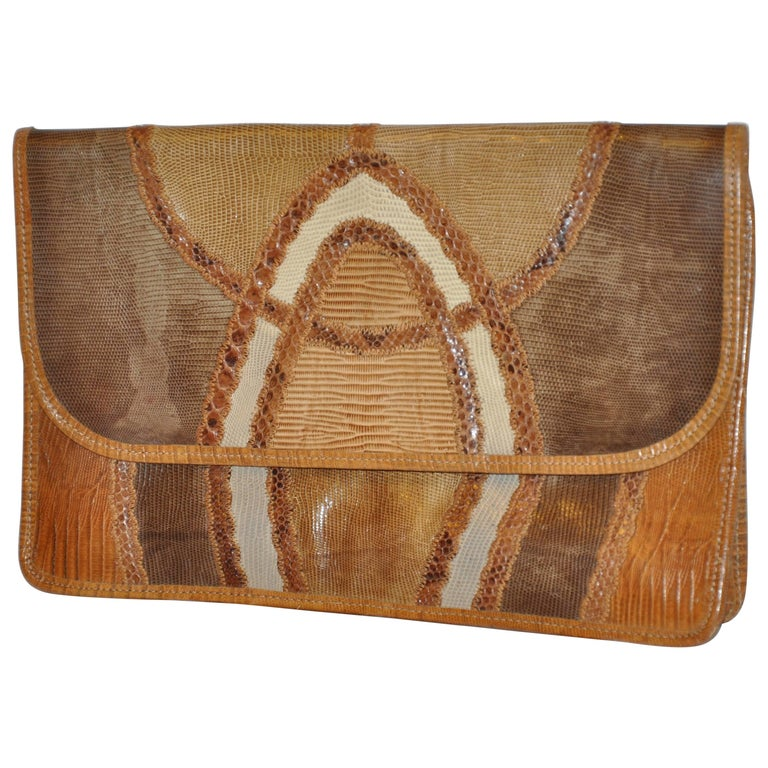 "Carlos Falchi Large ""Shades of Browns"" Multi Skin Clutch"