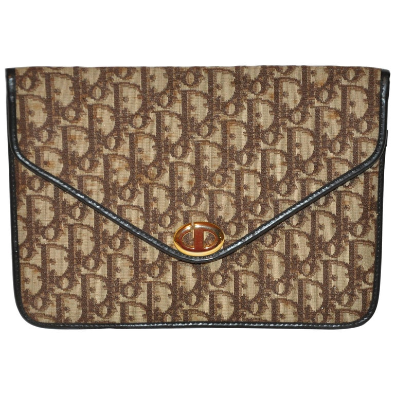 Christian Dior Signature Brown Canvas Clutch with Coco Brown Calfskin Logo  For Sale