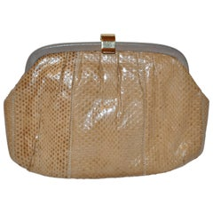 Palizzio of Italy Tan Snake with Gray Calfskin Accent Clutch