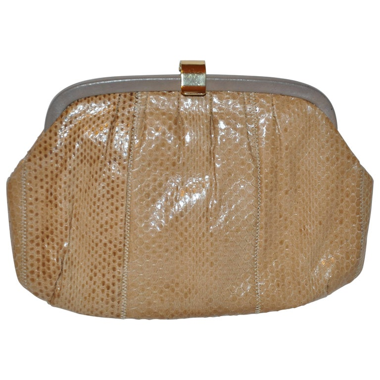 Palizzio of Italy Tan Snake with Gray Calfskin Accent Clutch For Sale