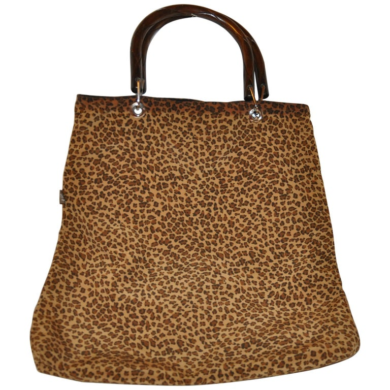 Bottega Veneta Reversible Black and Leopard Print Tote