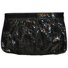 Saks Fifth Avenue Polished Black Snake Evening Clutch and Shoulder Bag