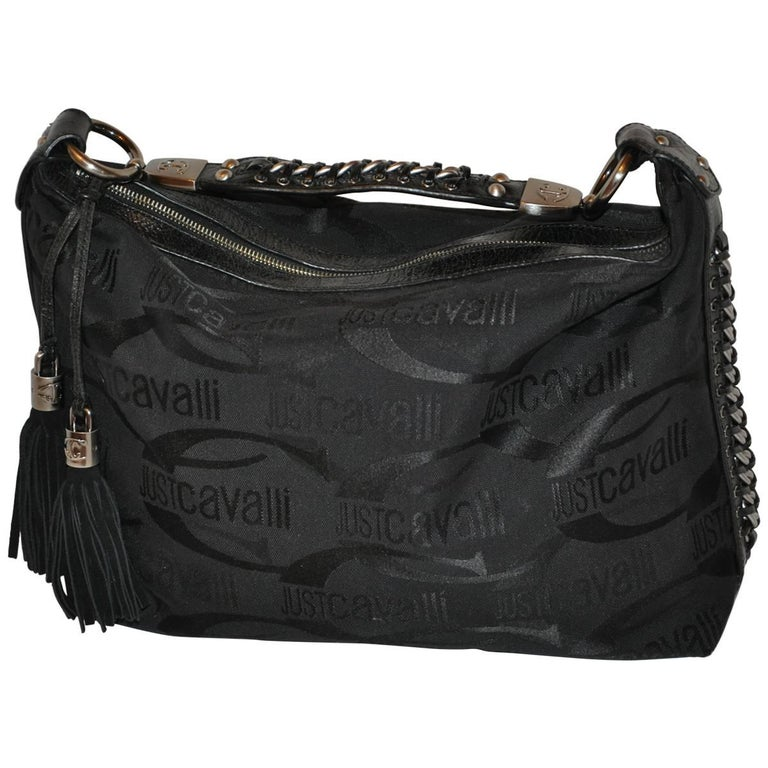 Roberto Cavalli Signature Logo with Hand-Woven and Fringe Pom-Pom Handbag